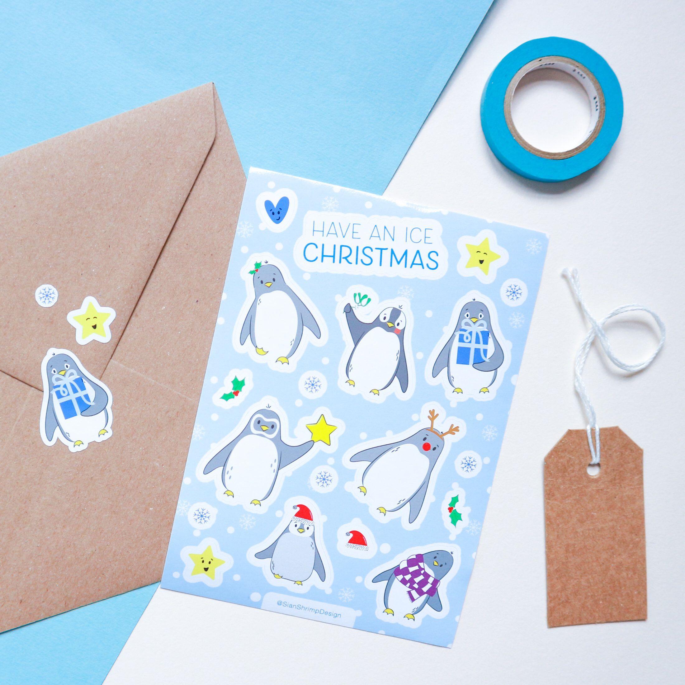 Christmas Penguin Sticker Sheet Vinyl Sticker Sheet For Bullet Journal Diary Or Scrapbook Vinyl Sticker Sheets Scrapbook Stickers