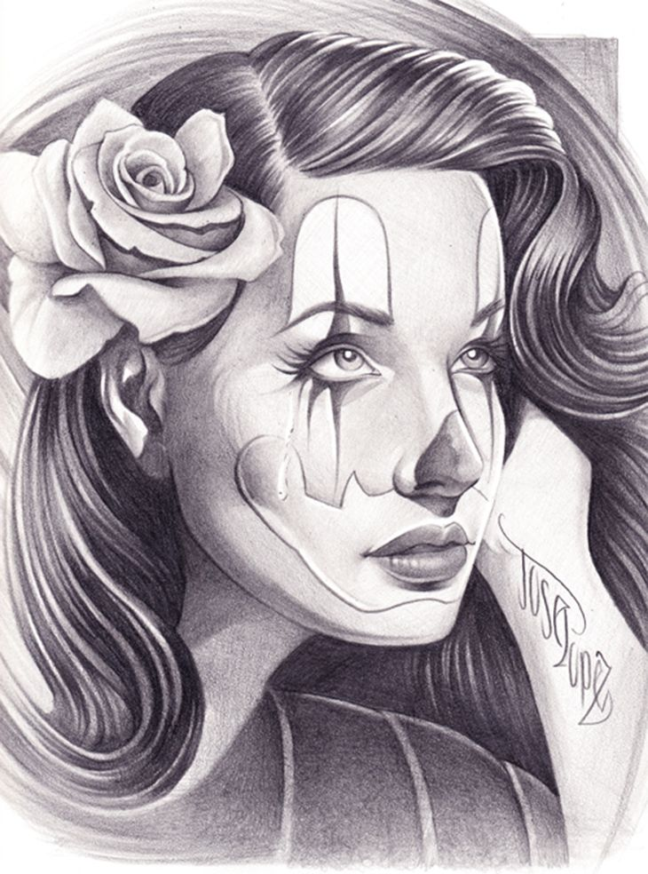 1d28fae86 Pin Up Clown Girl Art Drawing Picture Here Is A Dope Of | chicano ...