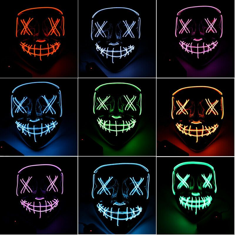 Halloween LED Purge Glow Mask Wire Light Up Movie Stitch Cosplay Costume Party