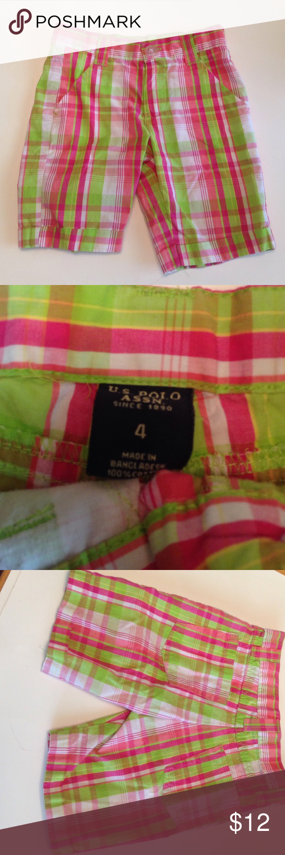 """GIRLS U.S. Polo Shorts Pink Plaid So cute! Pink and green plaid shorts from U.S. Polo Assn. Very gently worn. No stains or holes. Girls size 4. 100% cotton made in Bangladesh. LAYING FLAT MEASUREMENTS: waist 10.5"""" (not adjustable) length 12"""" U.S. Polo Assn. Bottoms Shorts"""
