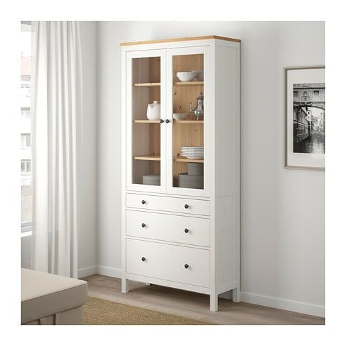 White Stain Light Brown: HEMNES Glass-door Cabinet With 3 Drawers, White Stain