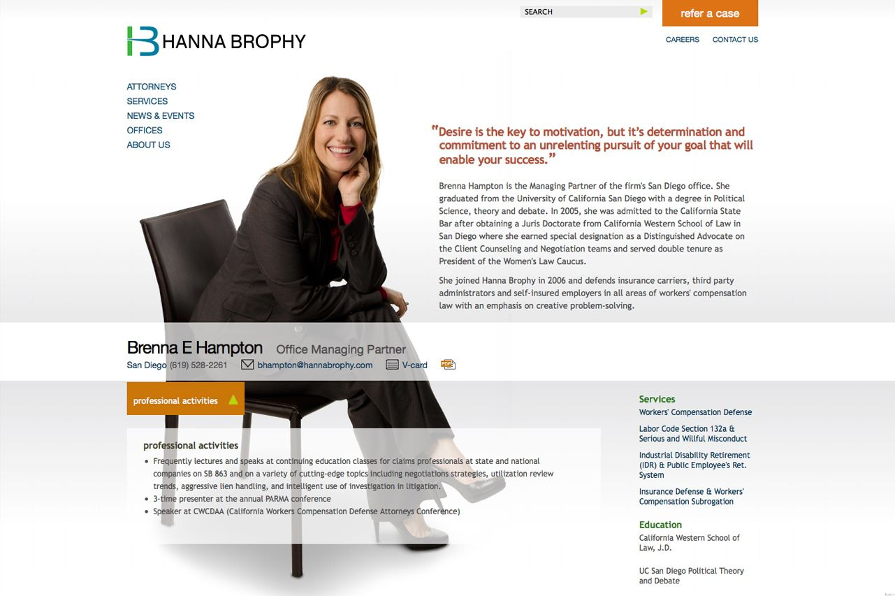 Hanna Brophy Attorney Detail Page Web Development Design