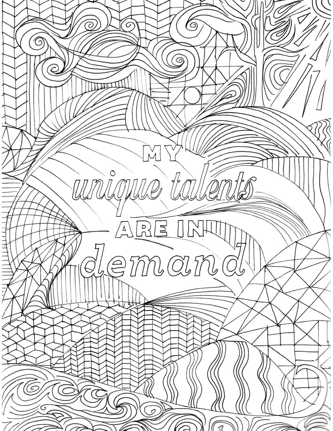 Positive Affirmation Coloring Page For Adults By Yogabender