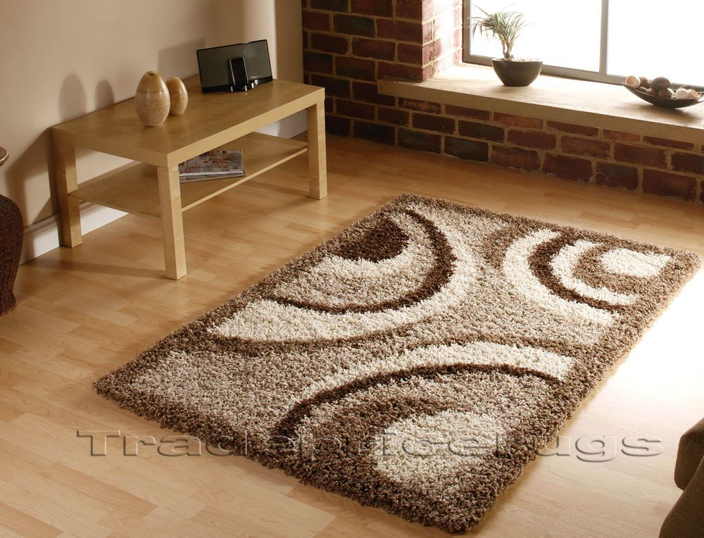 LARGE THICK LIGHT DARK BEIGE BROWN SWIRL CIRCLE PATTERN SHAGGY RUG 120x170