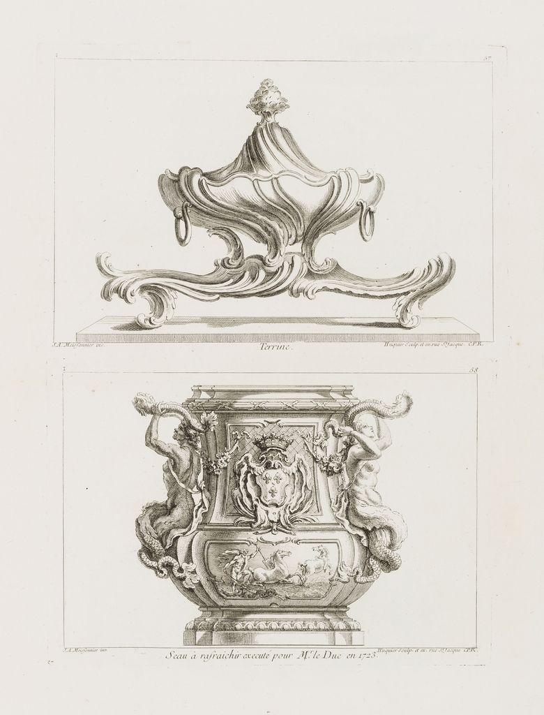 PRINT, SEAU À RAFRAICHIR EXECUTÉ POUR M. LE DUC EN 1723 [WINE COOLER MADE FOR M. LE DUC (LOUIS-HENRI DE BOURBON IN 1723], PL.. 58 IN OEUVRE DE JUSTE-AURELE MEISSONNIER, 1748