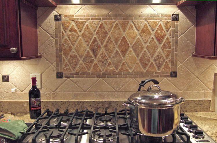 Kitchen Backsplash Diagonal Pattern diagonal tile backsplash with harlequin tile inset below range