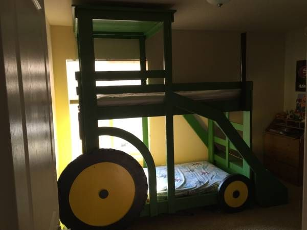 Custom built tractor bunk bed does not include the mattress. Twin size beds. The scoop is a toy box. Can also build other custom beds if you have another design you would like.