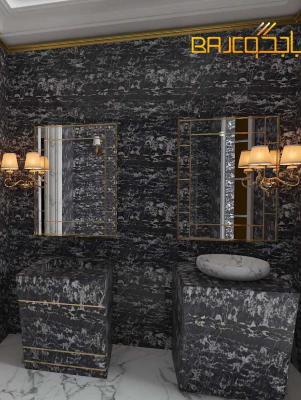 تصميم مغاسل رخام على شكل كتلة Marble Structures Bathroom