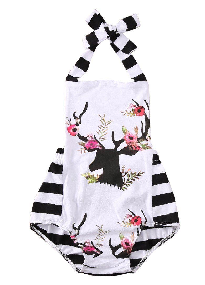 c8963593377 Deer Floral Black   White Romper