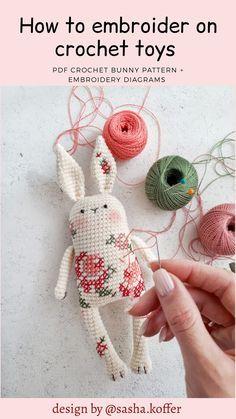 Amigurumi bunny pattern (crochet + embroidery) ENG