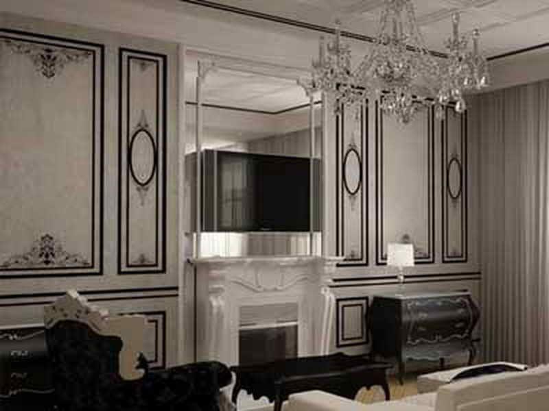 Interior design classic black white stripe wallpaper for Stripe interior design