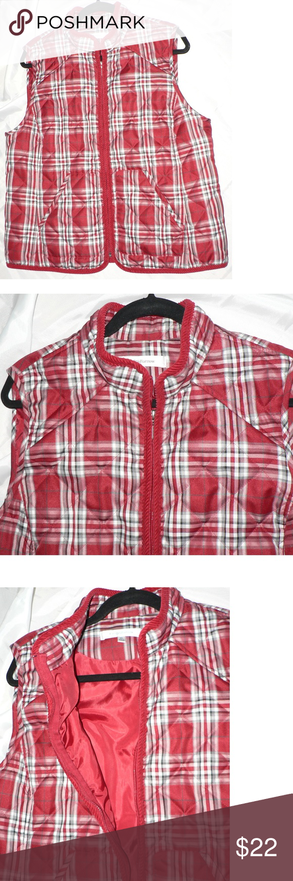 Red flannel vest womens  Cute Vest Puff Jacket Plus XL Red Plaid GORGEOUS CROFT u BAROW RED