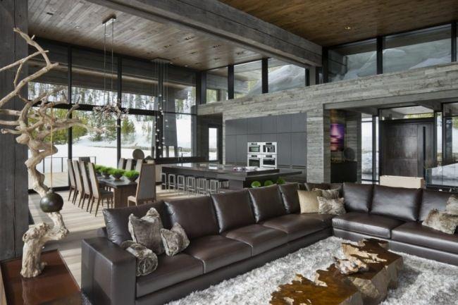 Rustikales Wohnzimmer ~ Wohnzimmer landschaft deko ideen rustikal chalet hütte interieur