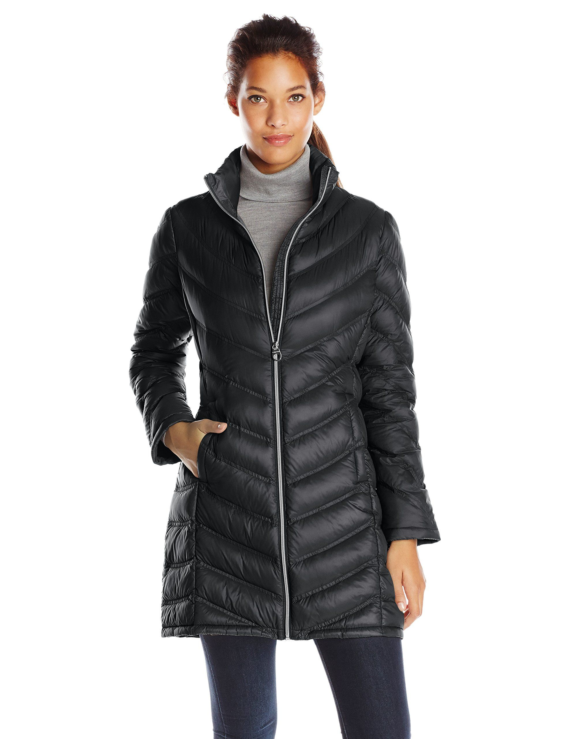 Calvin Klein Women's Chevron-Quilted Packable Down Coat at Amazon ... : down quilted coats - Adamdwight.com