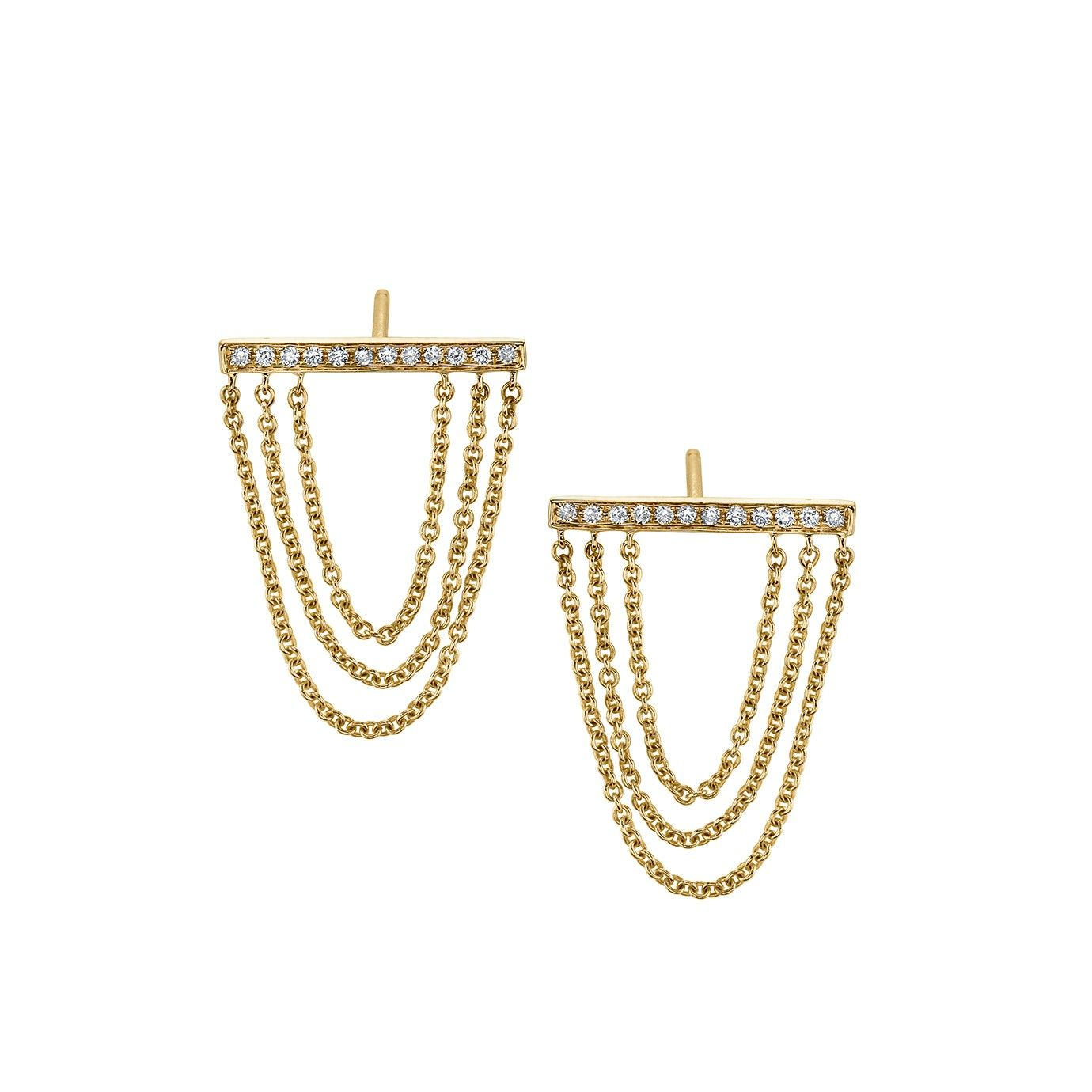 Yellow-Gold & Diamond Triple Chain Bar Stud Earrings