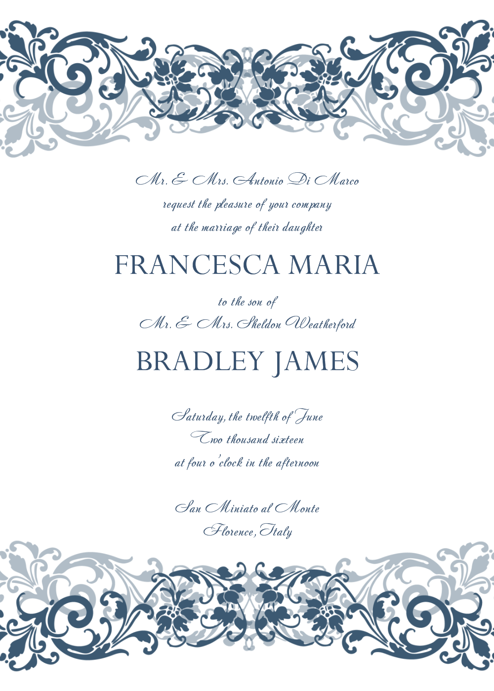 Beau Free Wedding Invitation Templates For Word