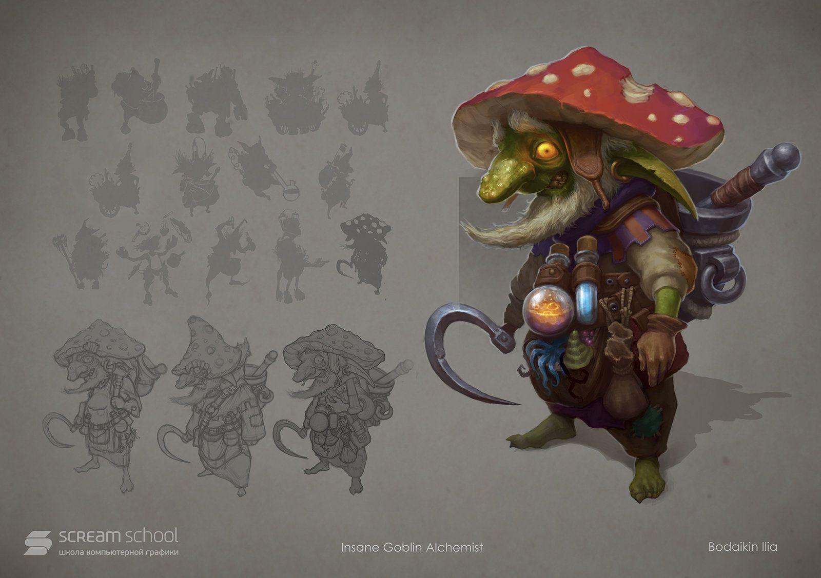 Goblin Alchemist, Ilya Bodaykin on ArtStation at https://www.artstation.com/artwork/goblin-alchemist