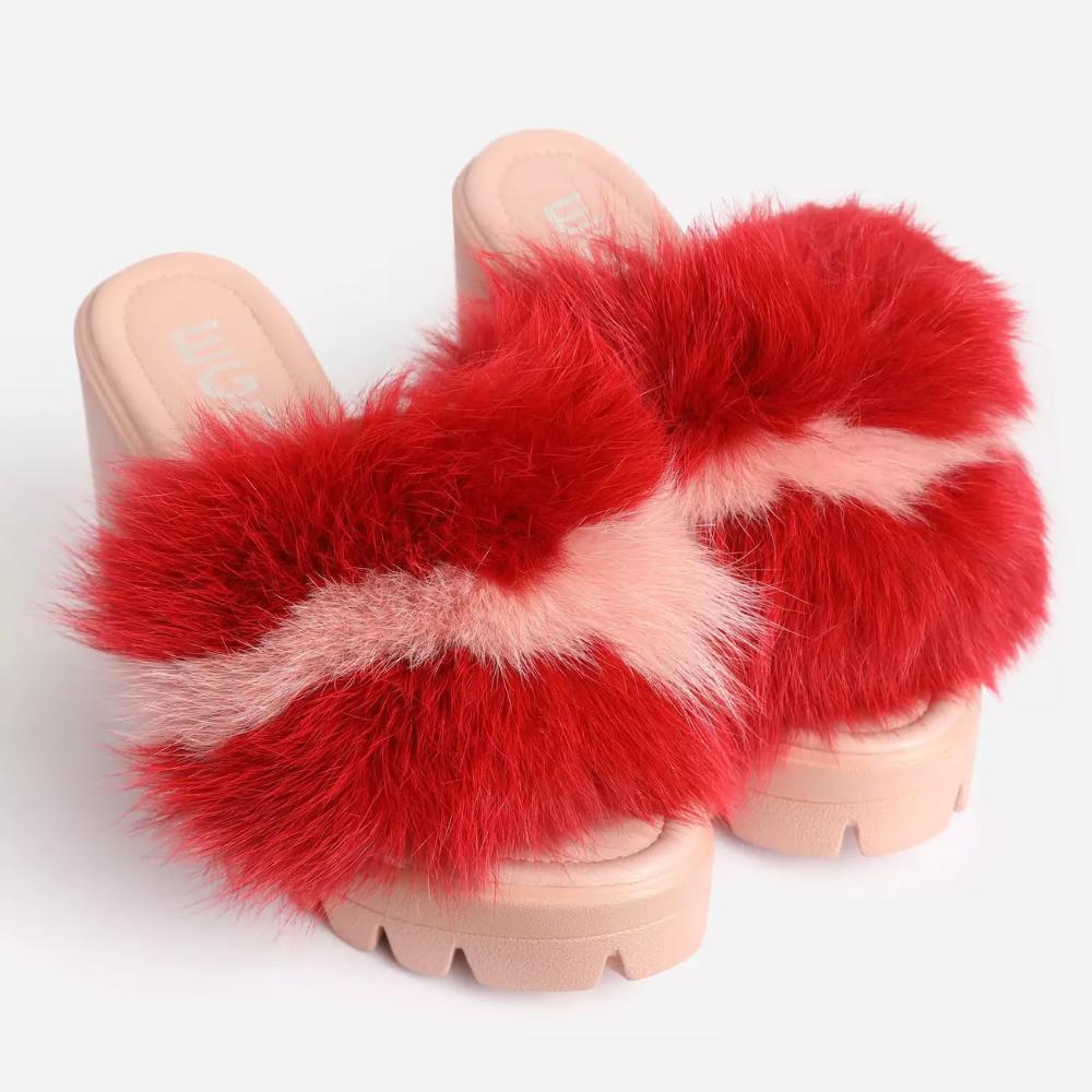fluffy open toe heels