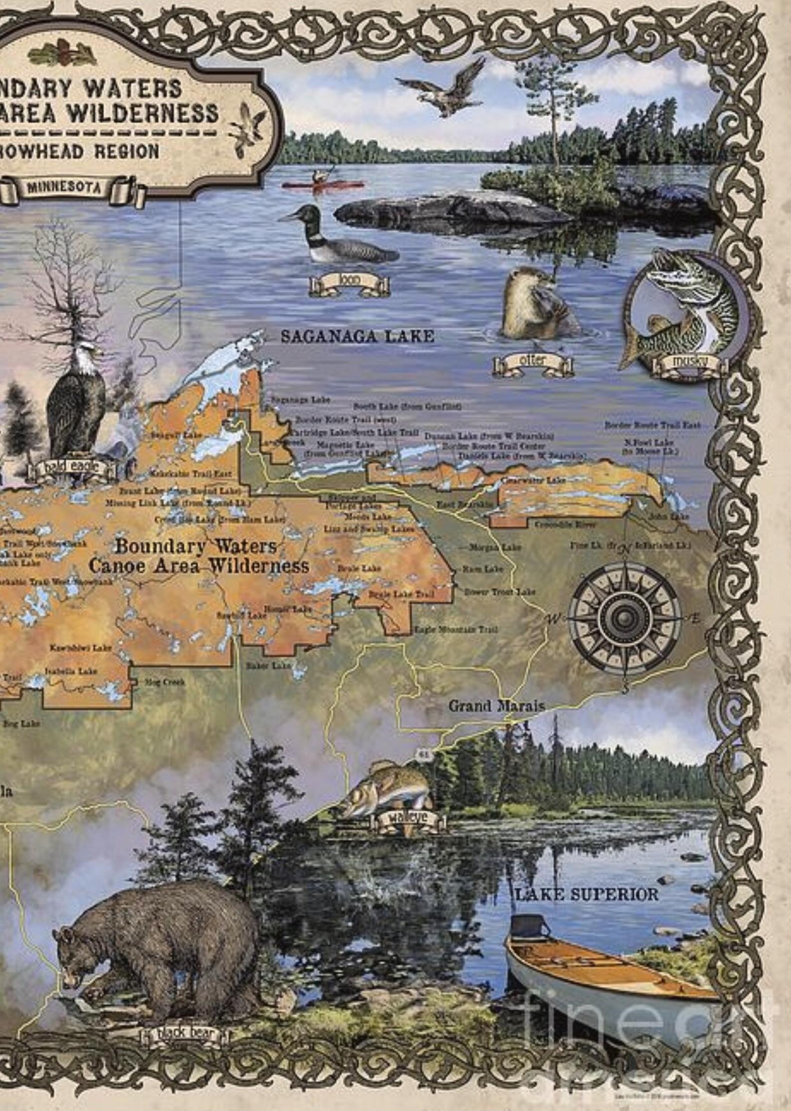 Boundary Waters Canoe Gift Minnesota Gift Large Wall Map Etsy Boundary Waters Canoe Area Boundary Waters Adventure Gifts