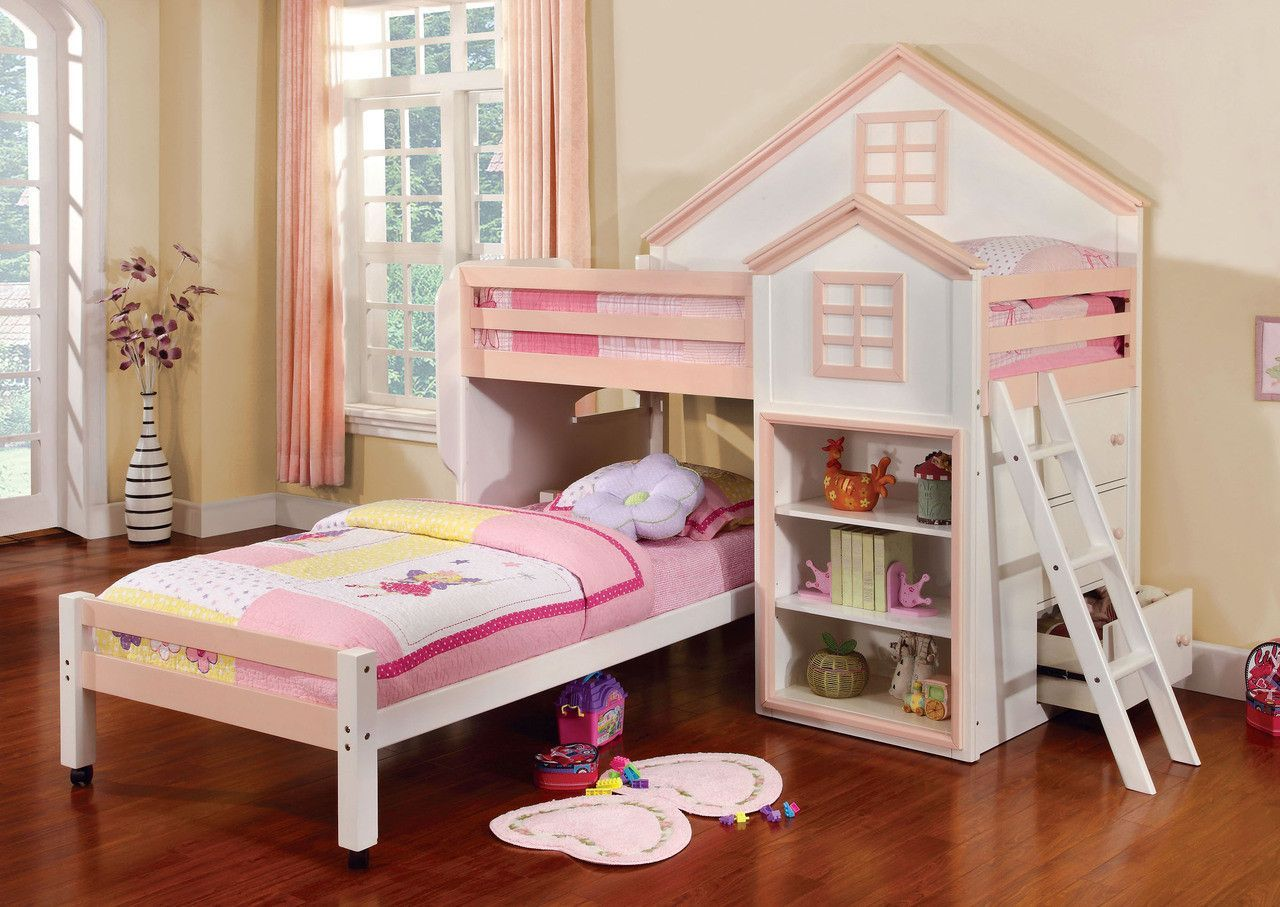 Girls loft bed with slide  Twin Loft Bed Citadel Collection  Products  Pinterest  Loft beds