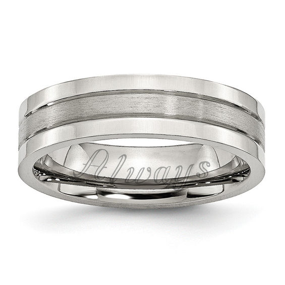 Zales Mens 8.0mm Brushed Comfort Fit Flat Wedding Band in Titanium (1 Line)
