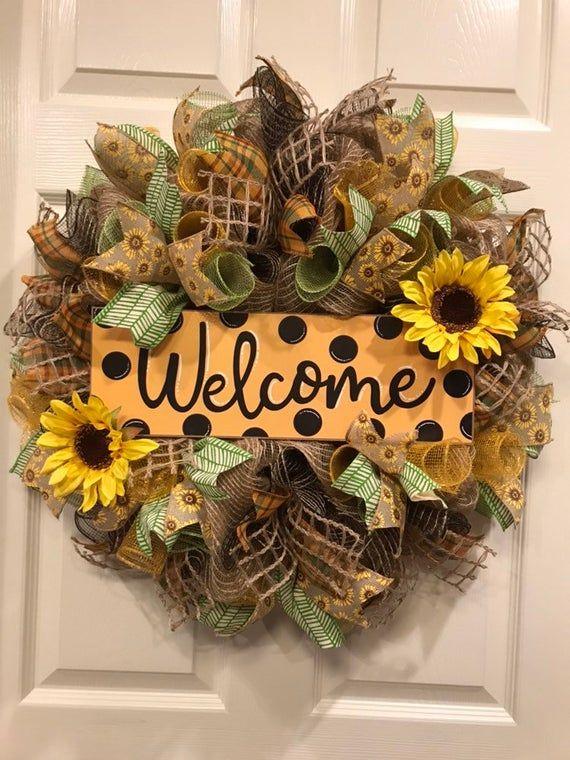 Photo of Sunflower wreath, sunflower wreath for the front door. Welcome wreath, summer wreath, summer wreath for the front door, everyday wreath, autumn wreath