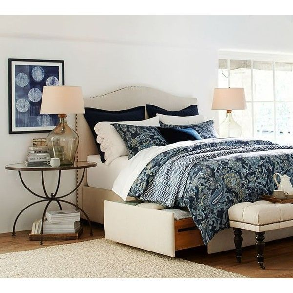 Pottery Barn Furniture Measurements: Pottery Barn Raleigh Upholstered Camelback Headboard