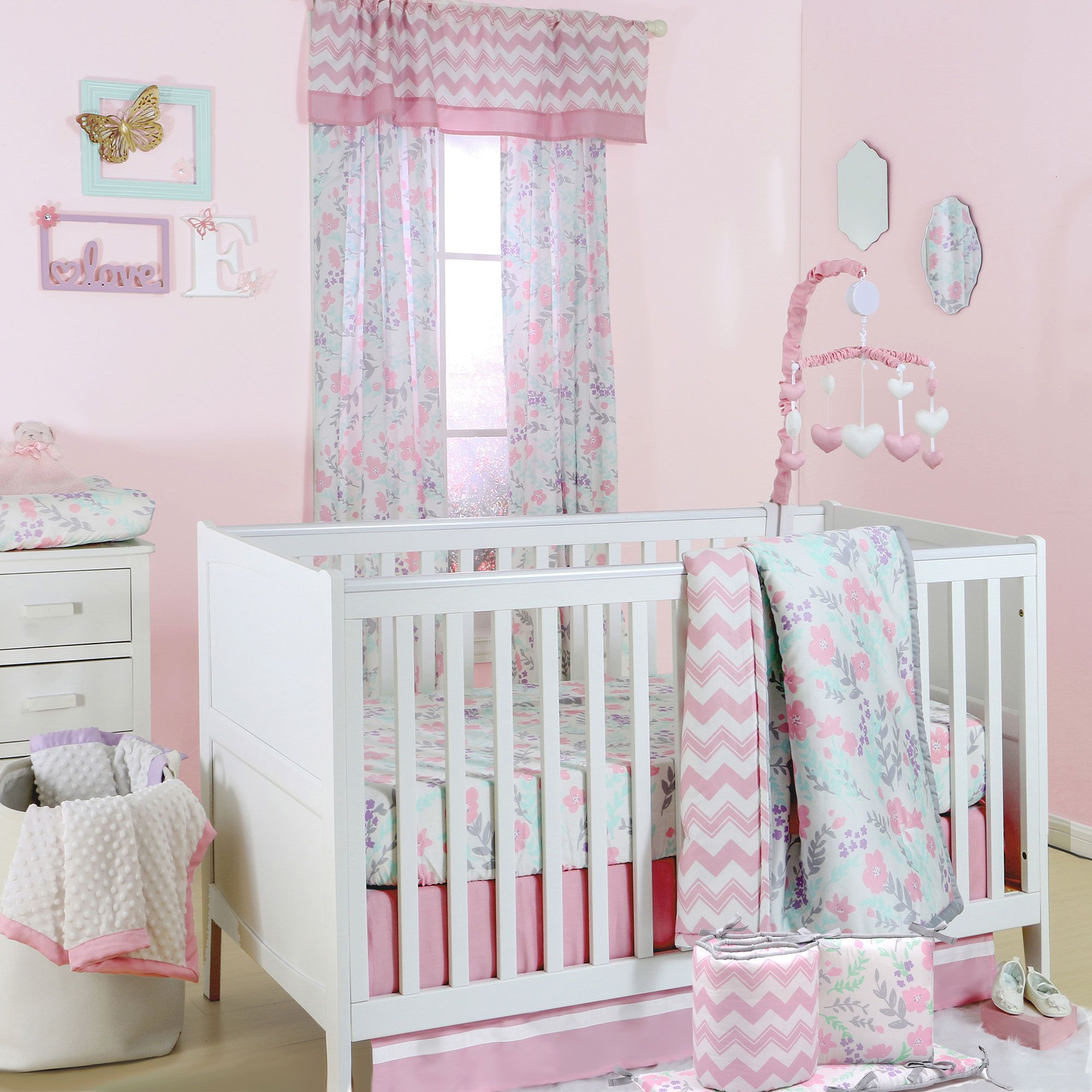 floral set of pictures curtains lovely walls cribs baby jeseniacoant crib pink nursery bedding girl