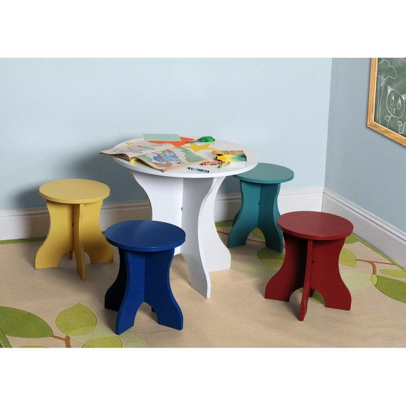 Kids Table Four Chair Set For Children   Boys And Girls Child Safe Paint    Toddler Wood Furniture In Red Yellow Green Blue White