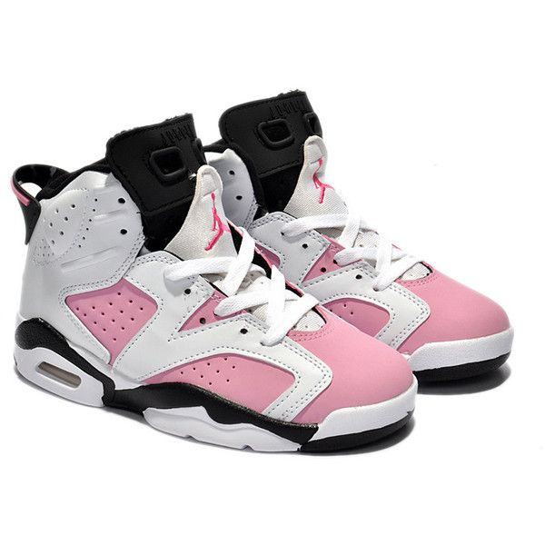 Kids Jordan 6 Retro White Pink Black Shoes