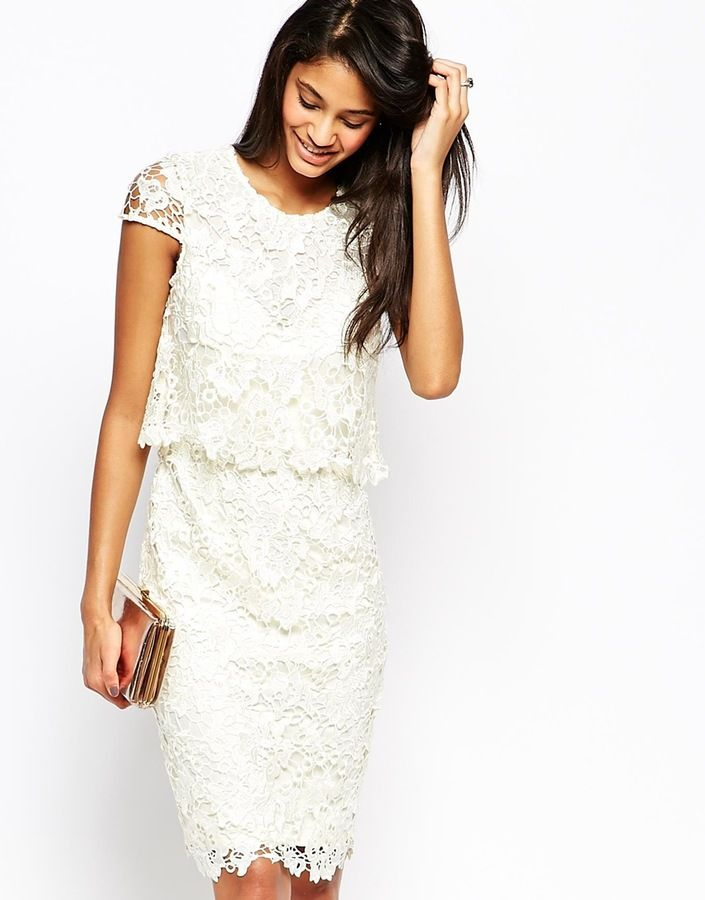 3de7bc5a Lipsy VIP Waxed Lace 2 in 1 Pencil Dress | Little White Dresses ...