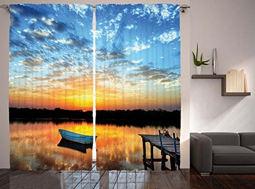 Lake House Curtains Decor by Ambesonne Little Fishing Boat and Sunrise Reflection on Pond Picture Window Treatments Living Kids Girls Room Curtain 2 Panels Set 108 X 84 Inches Blue Gold Grey -- Details can be found by clicking on the image. Note: It's an affiliate link to Amazon