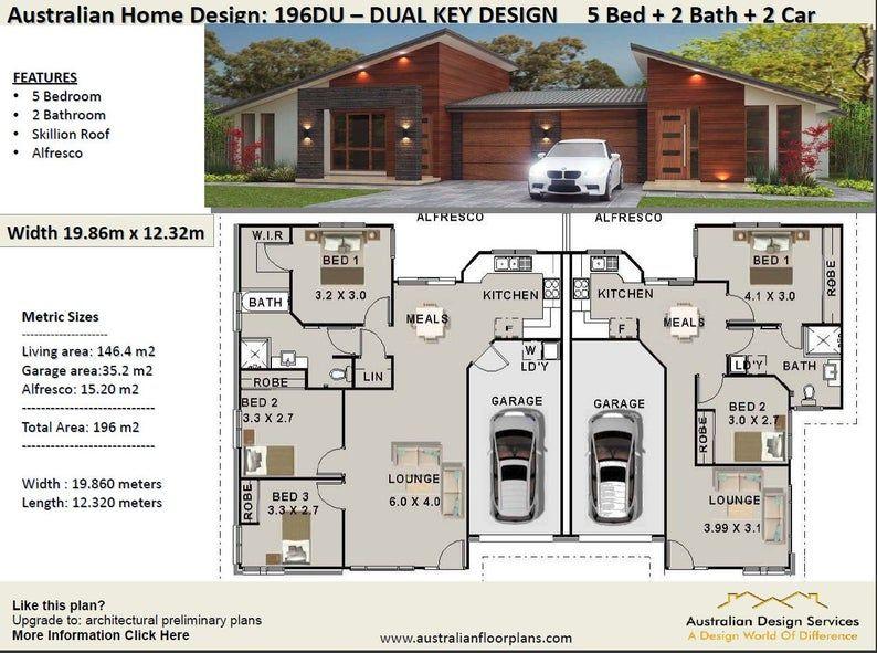 Best Seller 5 Star Duplex Home Designs Home Design Etsy In 2020 Duplex Design Duplex Floor Plans Family House Plans