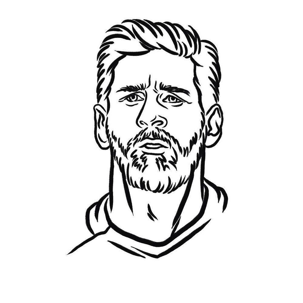 Messi Coloring Pages Messi Drawing Lionel Messi Messi