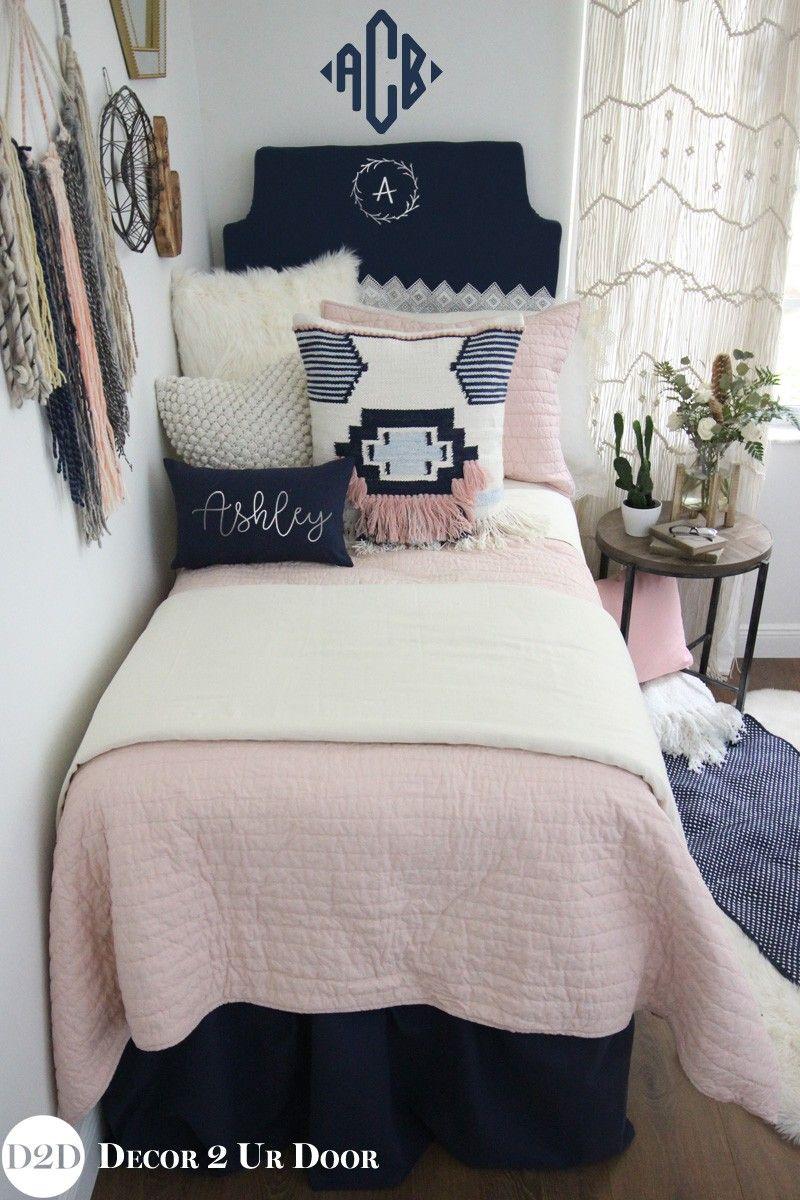 Pink Navy Boho Dorm Bedding Set Dorm Bedding Sets Dorm Room