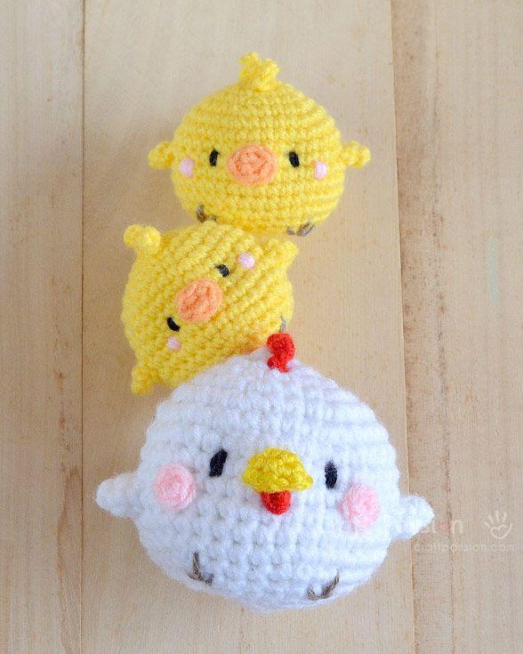 Hen & Chicks Amigurumi - Free Crochet Pattern | Llaveros, Patrones ...
