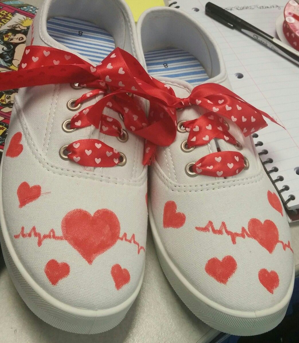 Shoes I Decorated For Go Red And Heart Disease Awareness