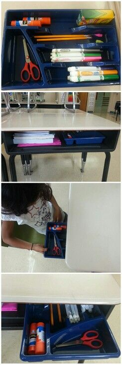 Buy utensil trays at dollar store, and use it as a desk drawer for students. Keeps inside desk organized (and looks clean and neat from the outside). You're welcome ;)