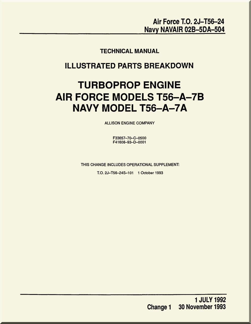 Allison T56-A-7A , -7B Aircraft Engine Illustrated Parts Breakdown ...