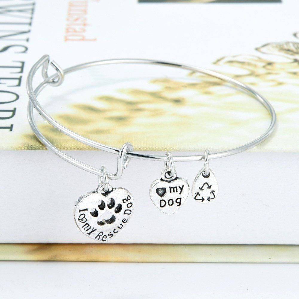 """$3.99 SALE!! """"I Love My Rescue Dog"""" Hollow Dog Paw Charm Adjustable expandab – I Heart Big Mutts FREE SHIPPING!!"""