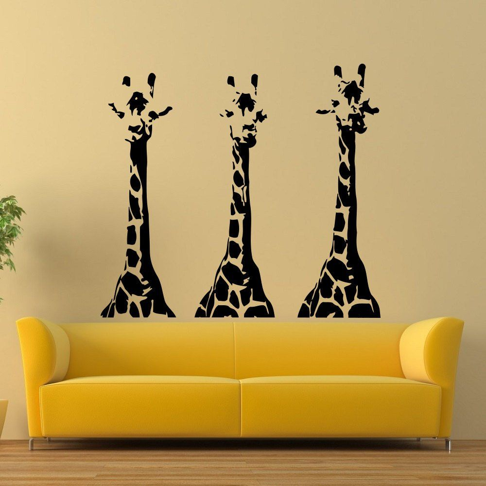 Wall Decals Giraffe Animals Jungle Safari African Kids Children ...