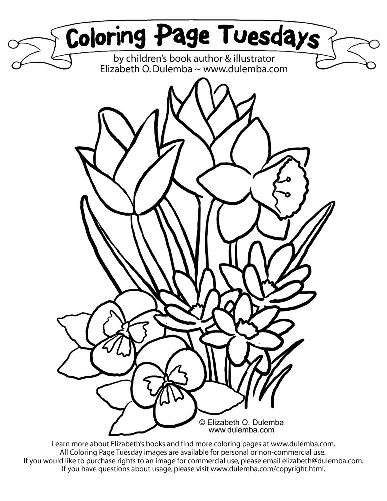 Spring Coloring Pages boquet