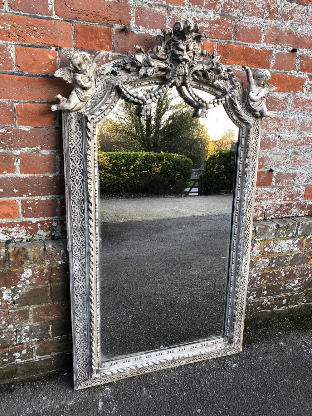 A Stunning Antique 19th Century French Highly Decorative Carved Wood And Gesso Shaped Top Distressed Painted Mirror In 2020 Mirror Painting Wood Carving Antiques