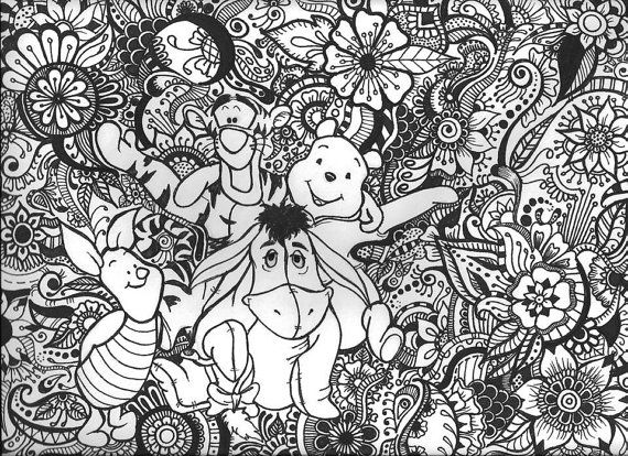 Aladdin Coloring Pages Pdf : Pooh bear and friends design floral designs bears and floral