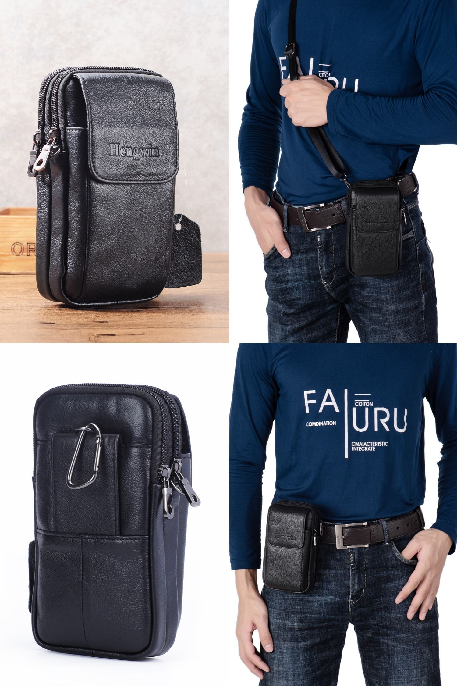 Cell Phone Holder In 2020 Mens Pouch Leather Crossbody Bag