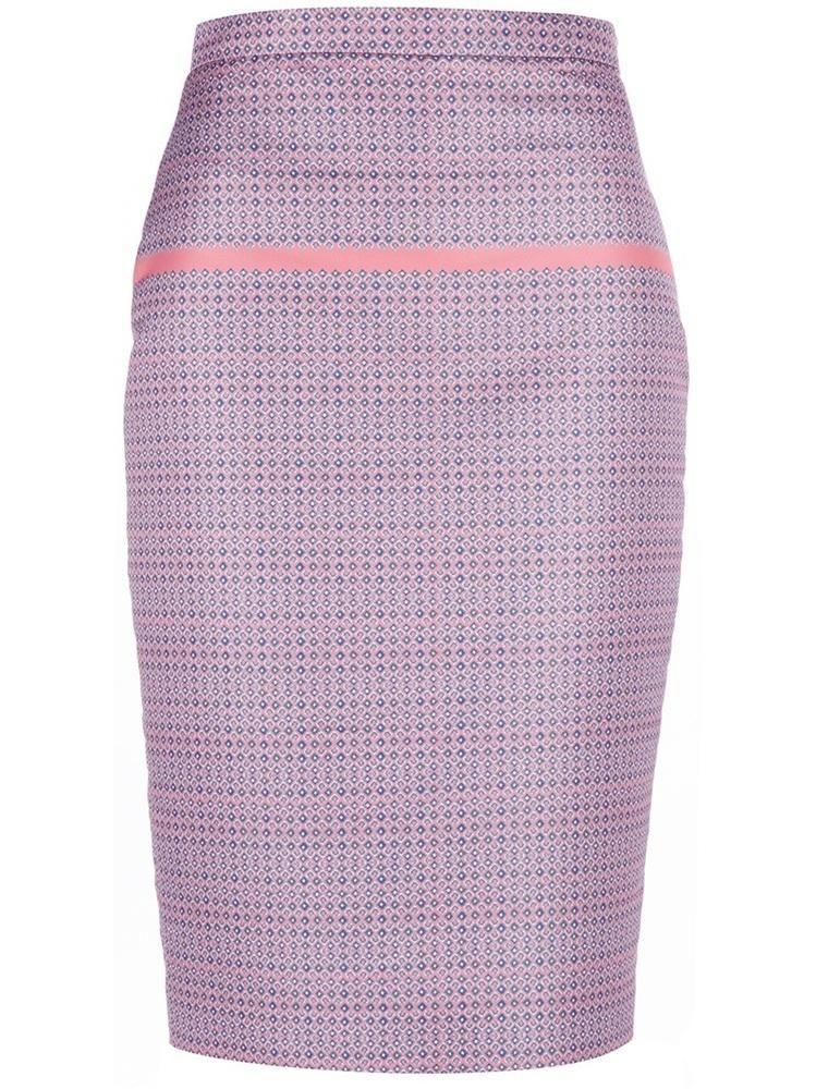 @Farfetch purple and pink mini polka dot print pencil skirt.