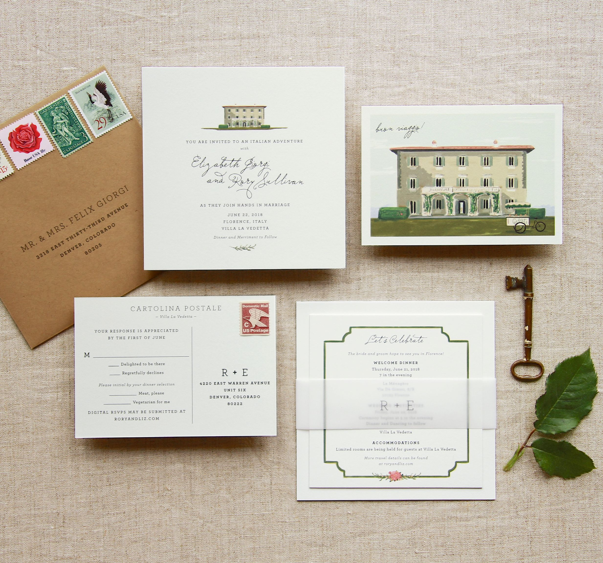 Retro Wes Anderson style, Florence, Italy custom wedding invitation ...