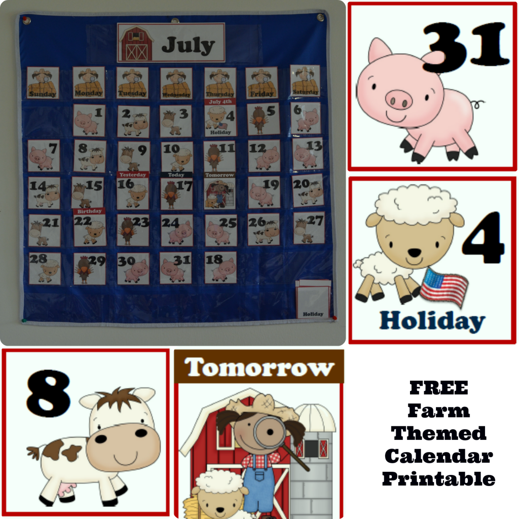 Free Farm Themed Pocket Calendar Cards