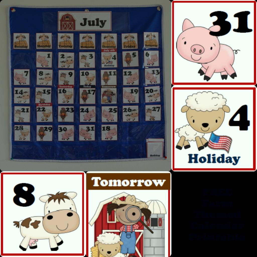 Free Farm Themed Pocket Calendar Cards