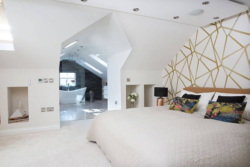 open-plan master bedroom and ensuite in a loft conversion ...